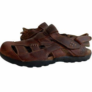 Dunham Brown Leather Closed Toe Fisherman Sandals